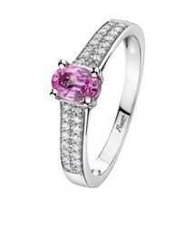 Bague or diamants saphir rose